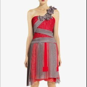 BCBG MAXAZRIA Runway lace one shoulder dress